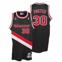 Blazers #30 Terry Porter Black Throwback Stitched NBA Jersey