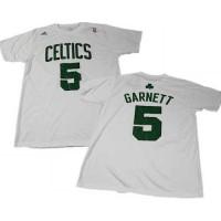 Boston Celtics #5 Kevin Garnett White NBA T-Shirts