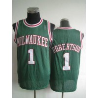 Bucks #1 Oscar Robertson Green Throwback Stitched NBA Jersey