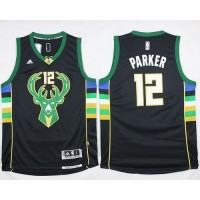 Bucks #12 Jabari Parker Black Alternate Stitched NBA Jersey