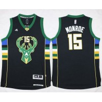 Bucks #15 Greg Monroe Black Stitched NBA Jersey