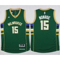 Bucks #15 Greg Monroe Green Stitched NBA Jersey