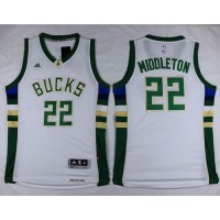 Bucks #22 Khris Middleton White Stitched NBA Jersey