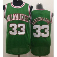 Bucks #33 Kareem Abdul-Jabbar Green Throwback Stitched NBA Jersey