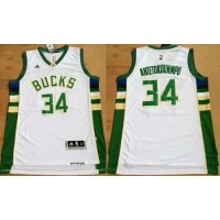 Bucks #34 Giannis Antetokounmpo White Revolution 30 Stitched NBA Jersey