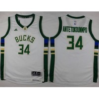 Bucks #34 Giannis Antetokounmpo White Stitched Youth NBA Jersey
