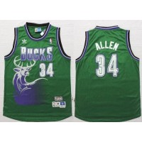 Bucks #34 Ray Allen Green Throwback New Stitched NBA Jersey