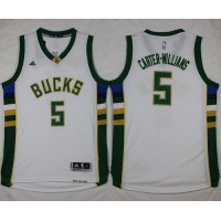 Bucks #5 Michael Carter-Williams White Stitched NBA Jersey