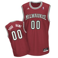 Bucks Personalized Authentic Red NBA Jersey (S-3XL)