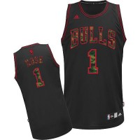 Bulls #1 Derrick Rose Black Camo Fashion Stitched NBA Jersey