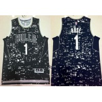Bulls #1 Derrick Rose Black City Light Stitched NBA Jersey