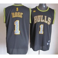 Bulls #1 Derrick Rose Black Electricity Fashion Stitched NBA Jersey