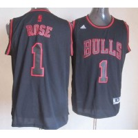 Bulls #1 Derrick Rose Black Graystone Fashion Stitched NBA Jersey