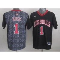 Bulls #1 Derrick Rose Black New Latin Nights Stitched NBA Jersey