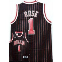 Bulls #1 Derrick Rose Black Red Strip Stitched NBA Jersey