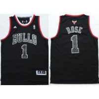 Bulls #1 Derrick Rose Black Shadow Red Strip Stitched NBA Jersey