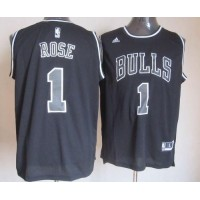 Bulls #1 Derrick Rose Black Shadow Stitched NBA Jersey
