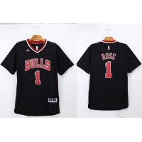 Bulls #1 Derrick Rose Black Short Sleeve Stitched NBA Jersey