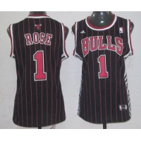 Bulls #1 Derrick Rose Black Strip Women's Fashion Stitched NBA Jersey