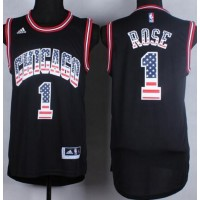 Bulls #1 Derrick Rose Black USA Flag Fashion Stitched NBA Jersey