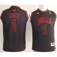 Bulls #1 Derrick Rose Black With Red No. Stitched Youth NBA Jersey