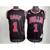 Bulls #1 Derrick Rose Black With Red Strip Throwback Stitched NBA Jersey
