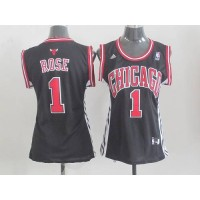 Bulls #1 Derrick Rose Black Women's Alternate Stitched NBA Jersey