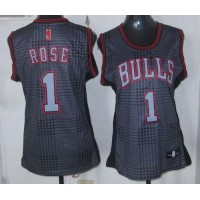 Bulls #1 Derrick Rose Black Women's Rhythm Fashion Stitched NBA Jersey