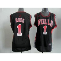 Bulls #1 Derrick Rose Black Women's Vibe Stitched NBA Jersey