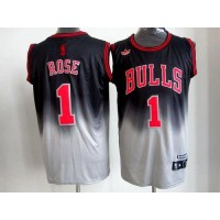 Bulls #1 Derrick Rose BlackGrey Fadeaway Fashion Stitched NBA Jersey