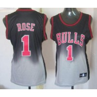 Bulls #1 Derrick Rose BlackGrey Fadeaway Fashion Women's Stitched NBA Jersey