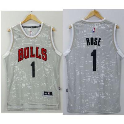 e259bf39f83 Bulls  1 Derrick Rose Grey City Light Stitched NBA Jersey