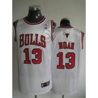 Bulls #13 Joakim Noah Stitched White NBA Jersey