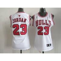 Bulls #23 Michael Jordan White Women's Home Stitched NBA Jersey