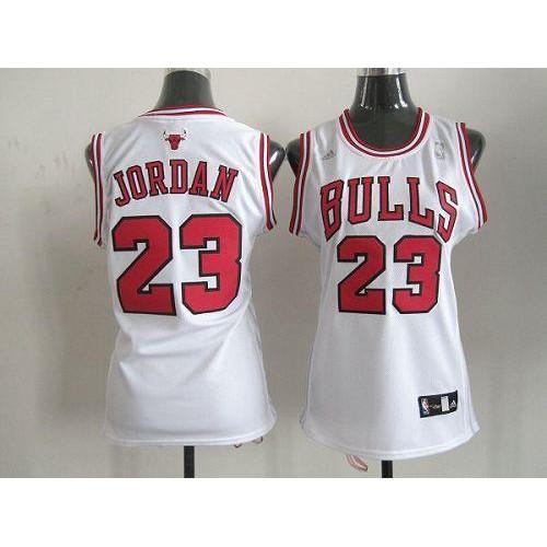 Bulls  23 Michael Jordan White Women s Home Stitched NBA Jersey 1814c36b6