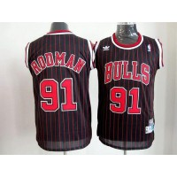 Bulls #91 Dennis Rodman Black With Red Strip Throwback Stitched NBA Jersey