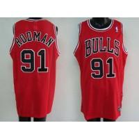 Bulls #91 Dennis Rodman Stitched Red NBA Jersey