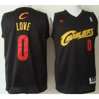 Cavaliers #0 Kevin Love Black(Red No.) Fashion Stitched NBA Jersey