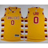 Cavaliers #0 Kevin Love Gold Throwback Classic Stitched NBA Jersey