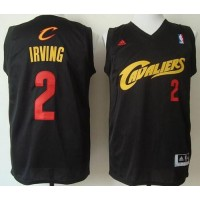 Cavaliers #2 Kyrie Irving Black(Red No.) Fashion Stitched NBA Jersey