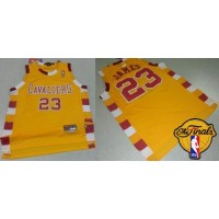 Cavaliers #23 LeBron James Gold Throwback Classic The Finals Patch Stitched NBA Jersey