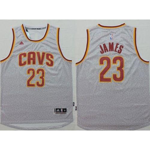 timeless design 6d17d c5b27 Cavaliers #23 LeBron James Grey Fashion Stitched NBA Jersey