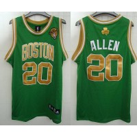 Celtics #20 Ray Allen Stitched Green Gold Number Final Patch NBA Jersey