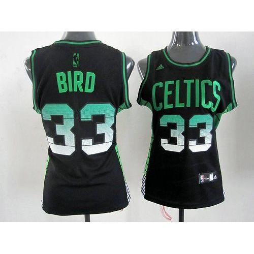 size 40 acf2c cc400 Celtics #33 Larry Bird Black Women's Vibe Stitched NBA Jersey
