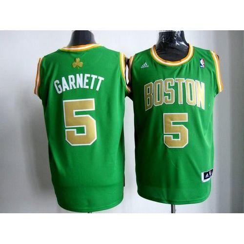 4b2ea43dad21 Celtics  5 Kevin Garnett Stitched Green Gold Number NBA Jersey