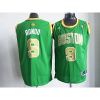 Celtics #9 Rajon Rondo Green(Gold NO.) Revolution 30 Stitched NBA Jersey