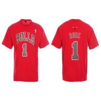 Chicago Bulls #1 Derrick Rose Red NBA T-Shirts