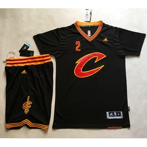 Cleveland Cavaliers  2 Kyrie Irving Black Short Sleeve C A Set Stitched NBA  Jersey d80b3029c