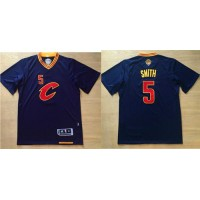 Cleveland Cavaliers #5 J.R. Smith Navy Blue Short Sleeve C Stitched NBA Jersey
