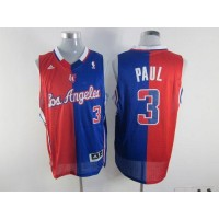 Clippers #3 Chris Paul RedBlue Split Fashion Stitched NBA Jersey